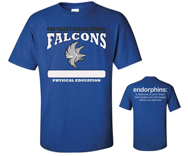 PE Shirts [Shirt] - $15 00 : Oak Valley Middle School